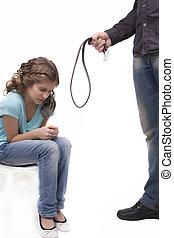 behandling, av, straff, med, bälte