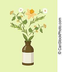 behandling, brun, extracts, flaska, kamomill, herbal, ...