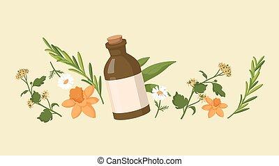 behandling, extracts, brun, hälsosam, flaska, organisk, olja...