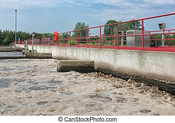 behandling sewage, plante, aeration, i, den, wastewater.