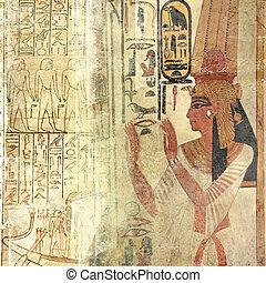 behang, egypte, koningin, sand-beige, ancien, nefertari, hiero