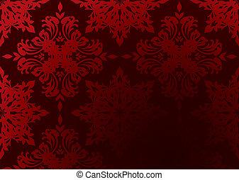 behang, gotisch, rood
