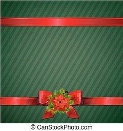behang, groene, retro, kerstmis