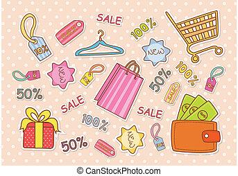 behang, mode, shoppen
