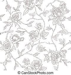 behang, -, seamless, rozen, vector, achtergrond, floral ontwerpen, textuur