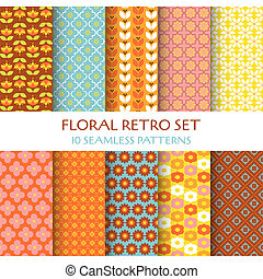 behang, tien, set, -, seamless, textuur, motieven, vector, ontwerp, retro, plakboek, floral, achtergrond