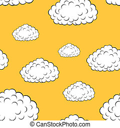 behang, vector, wolken, seamless, illustratie