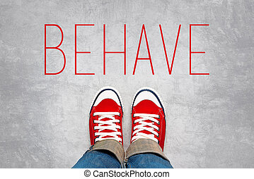 Behave Reminder for Young Person in Red Sneakers about to make a Step and Join the Party, Top View.