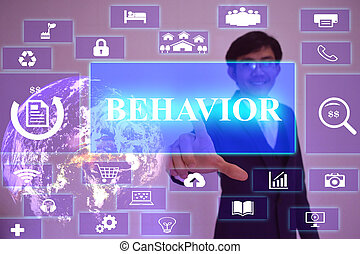 BEHAVIOR concept  presented by  businessman touching on  virtual  screen ,image element furnished by NASA