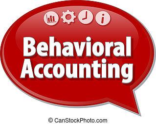 behavioral, contabilidad, empresa / negocio, término, burbuja del discurso, ilustración