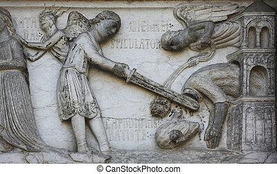 Beheading of St. John the Baptist, detail of marble carvings...