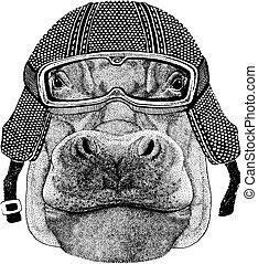 Behemoth, hippo with motorcycle helmet. Vintage motorcycle...