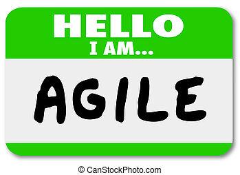 behendigheid, naam, behendig, label, aanpassen, snel, hallo, veranderen
