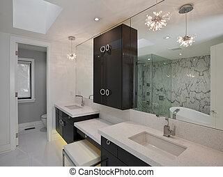 beherske, badeværelse, ind, nye, luksus, hus