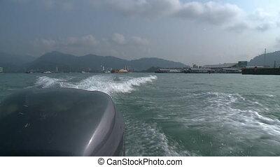 Behind | Fast-Moving Motorboat, Langkawi Port, KL - Close-up...