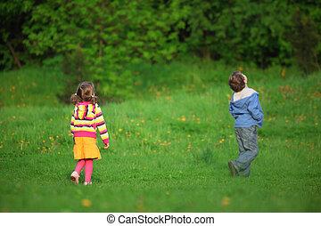 behind kids looking upwards outdoor