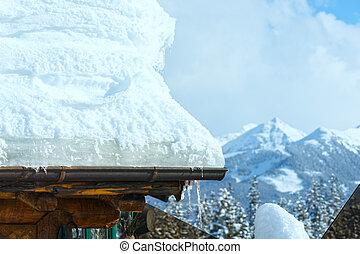 behind., montanha, inverno, telhado, neve
