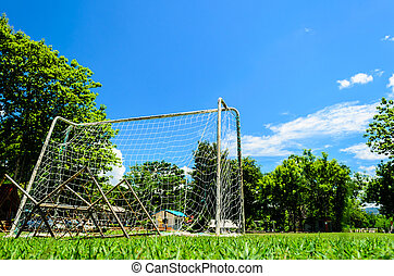 Behind of The Mini Football goal in College