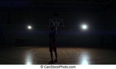 Behind shot of basketball player shooting hoops.