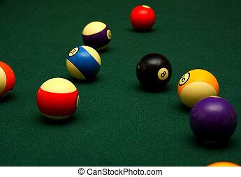 Behind the Eight Ball - Billiard balls on a table with the ...