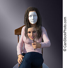 3D render depicting a woman who hides her true feelings behind a mask.