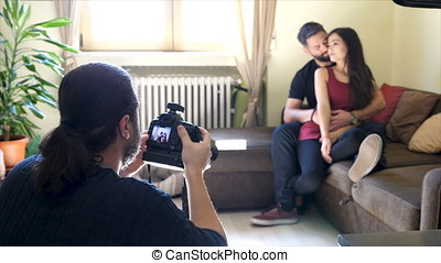 Behind the scene of lifestyle photo session with a cute couple and cats