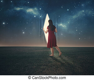 Behind the stars - A woman pulls back the curtains and looks...