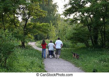 behind walking family in park