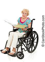 behinderten, älter, -, medizin, rechnungen