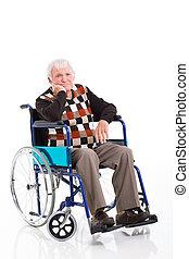 behinderten, älterer mann, sitzen, auf, a, rollstuhl