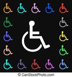 behinderten, iconi, zeichen., lose, von, bunte, symbole, für, dein, design., vektor