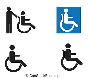 behinderten, ikone, satz, vektor, zeichen