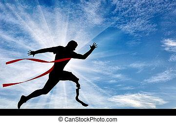 behinderten, läufer, mit, prothese, überfahrt, zielband