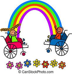 behinderten, regenbogen, kinder
