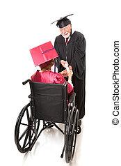 behinderten, staffeln, empfängt, diplom