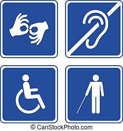 behinderten, zeichen & schilder
