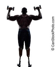 behindertes, körperbauunternehmer, gebäude, gewichte, mann, mit, beine, prosthe