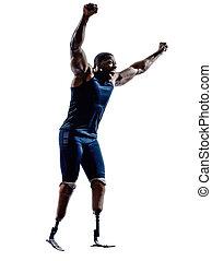 behindertes, silhouett, prothese, kurzstreckenläufer, beine, läufer, mann