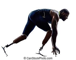 behindertes, silhouett, prothese, kurzstreckenläufer, beine...