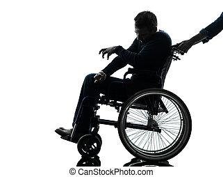 behindertes, untauglicher mann, in, rollstuhl, silhouette