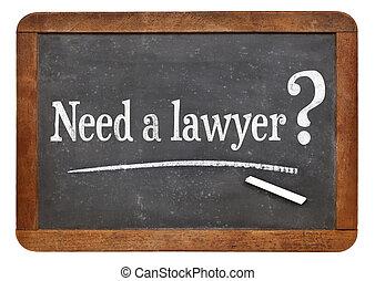 behoefte, een, advocaat, vraag