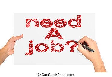 behoefte, een, werk, op, papier