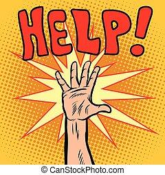 behoefte, helpen, hand