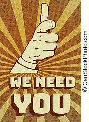 behoefte, ouderwetse , wij, u, poster