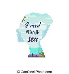 behoefte, vitamine, vector., sea.