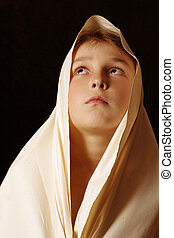 Behold - Humble child in simple cloth lifting up his eyes to...