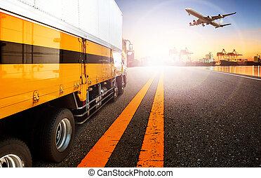 beholder, lastbil, og, skib, ind, import, havn, havn, hos, last, fragt, flyvemaskine, flyve, anvendelse, by, transport, og, logistic, firma, baggrund