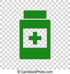 beholder, medicinsk, mørke, baggrund., grønne, tegn., transparent, ikon