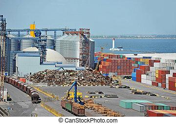 beholder, tog, lumber, havn