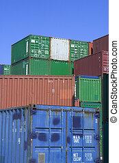 beholdere, havn, forsendelse